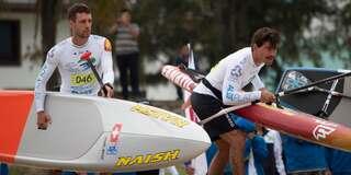 Bereit für den Start zum Technical Race Vorlauf an den SUP Weltmeisterschaften